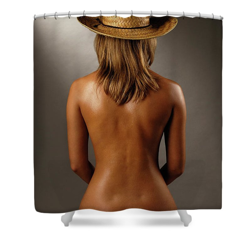Woman Shower Curtain featuring the photograph Bare Back Of A Suntanned Woman In A Straw Hat by Oleksiy Maksymenko