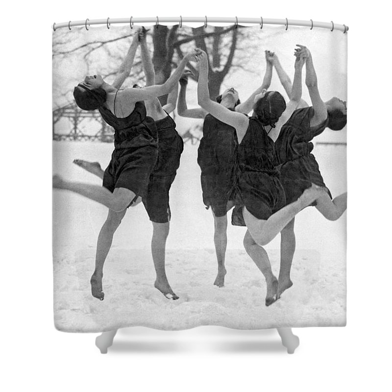 1910's Shower Curtain featuring the photograph Barefoot Dance In The Snow by Underwood Archives