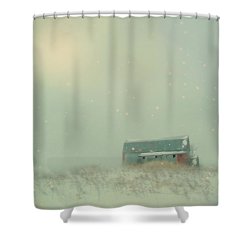 Barn Shower Curtain featuring the photograph Barn In Winter by Gothicrow Images