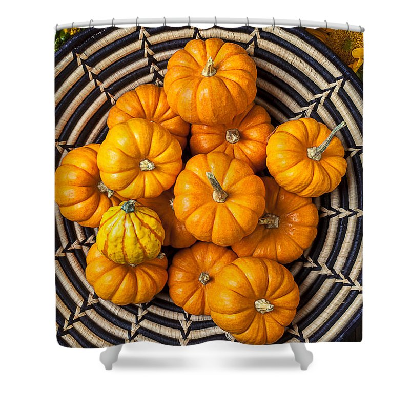 Basket Full Stack Shower Curtain featuring the photograph Basket Full Of Small Pumpkins by Garry Gay