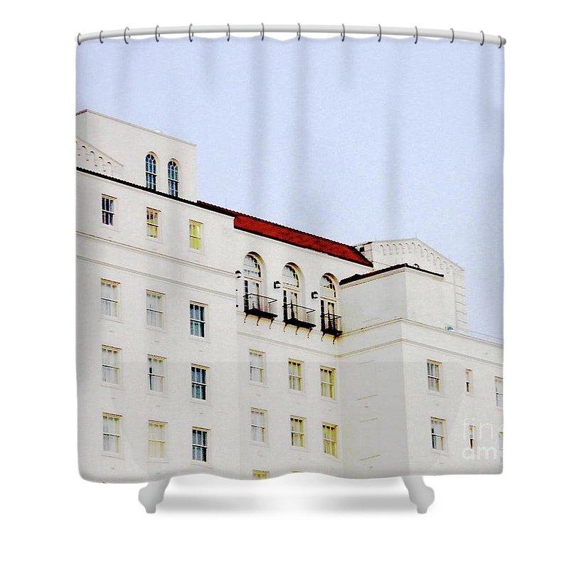 Hilton Hotel Shower Curtain featuring the digital art Baton Rouge Hilton by Lizi Beard-Ward