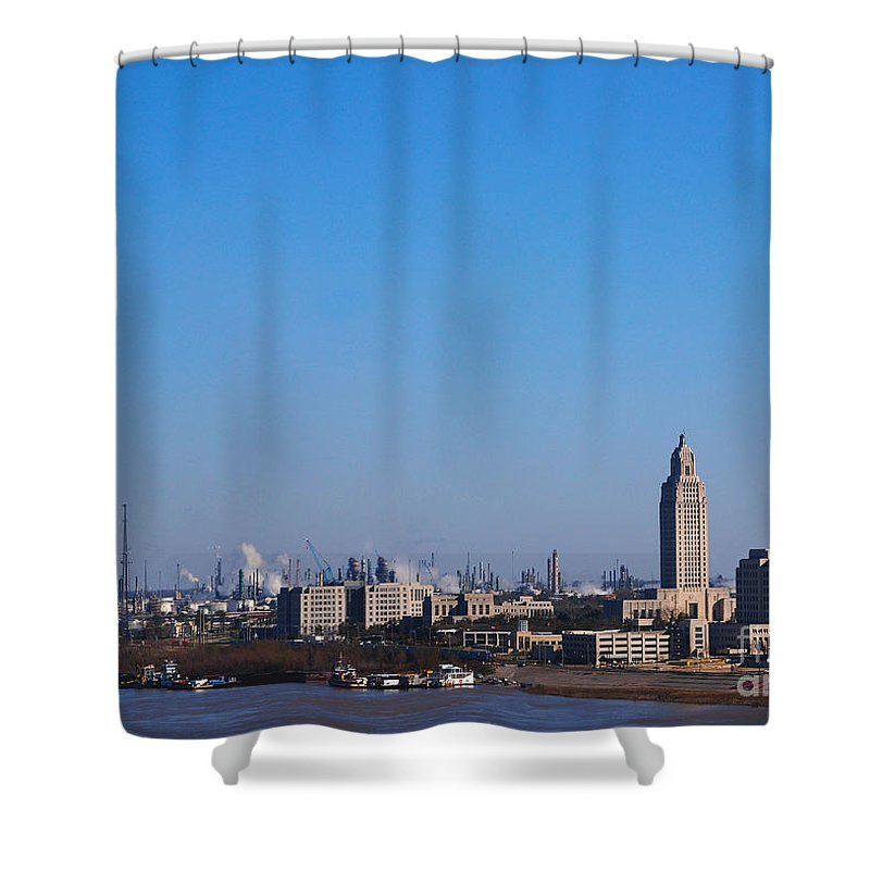 Baton Rouge Shower Curtain featuring the photograph Baton Rouge Skyline Louisiana by Susanne Van Hulst
