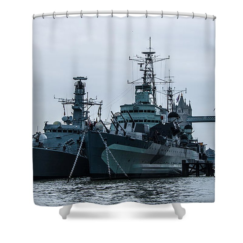 Hms St. Albans Shower Curtain featuring the photograph Battleship At Tower Bridge by Dawn OConnor