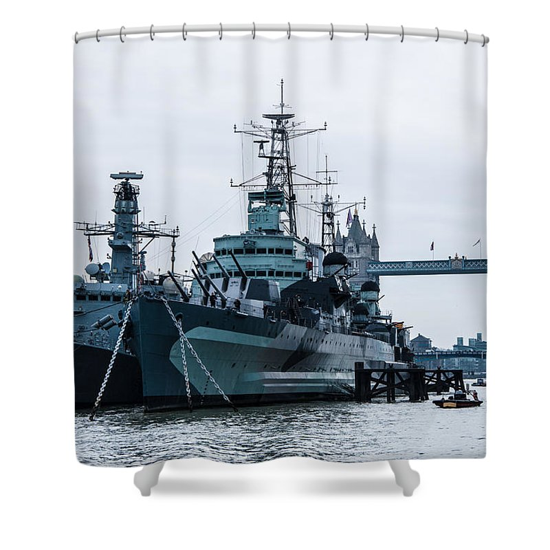 Battleship Shower Curtain featuring the photograph Battleships And Tugboat by Dawn OConnor