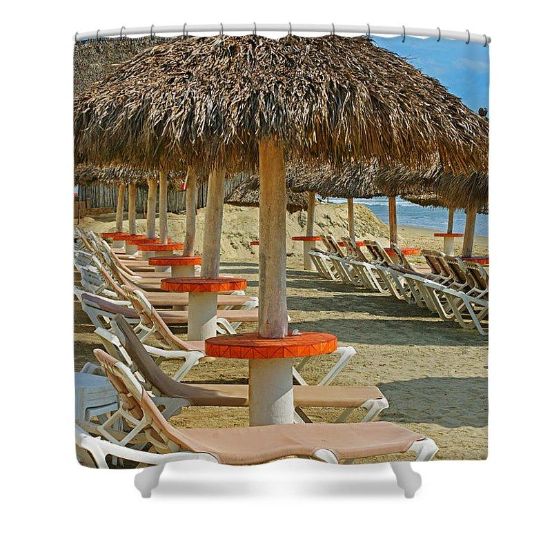 Beaches Shower Curtain featuring the photograph Beach Chairs by Randy Harris