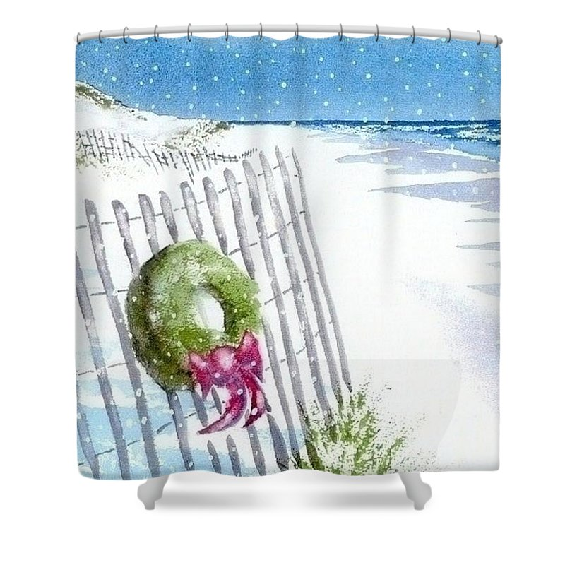 Cape Cod Shower Curtain featuring the painting Beach Holiday by Joseph Gallant