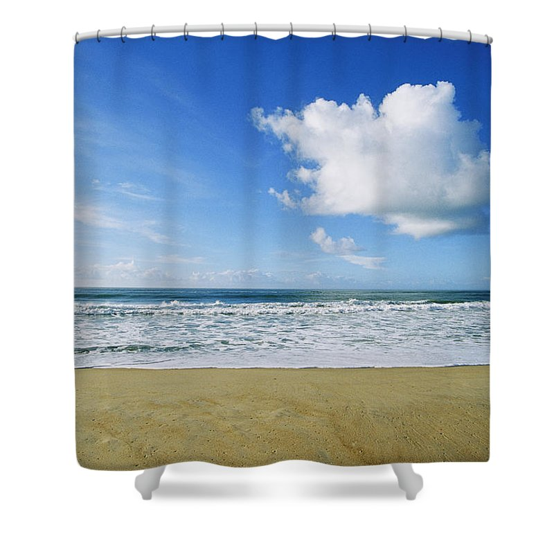 North America Shower Curtain featuring the photograph Beach, Ocean, Sky, And Clouds by Skip Brown