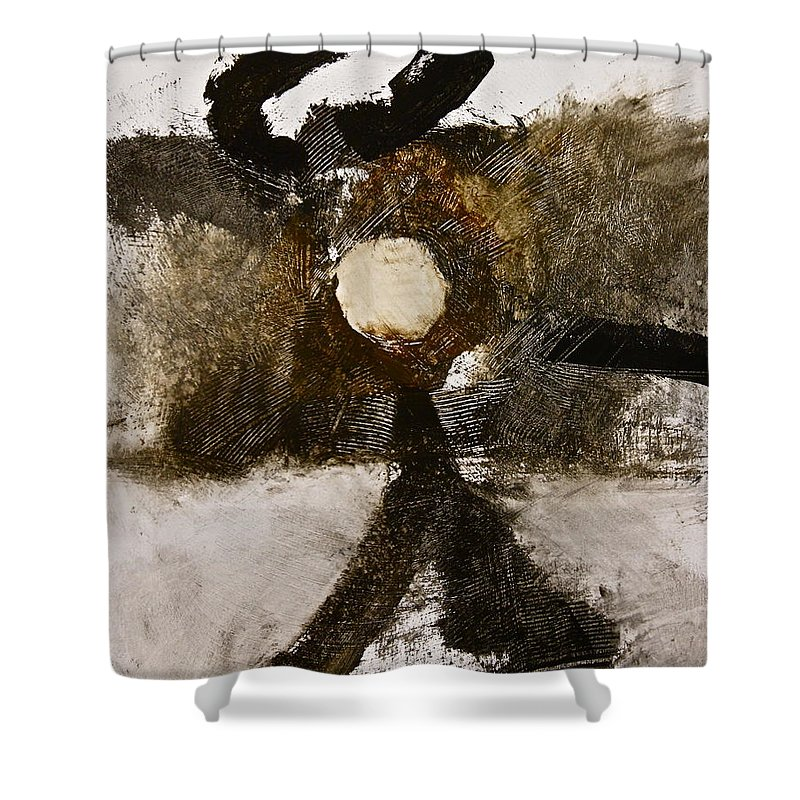 Abstract Paintings Shower Curtain featuring the painting Beachcomber by Cliff Spohn