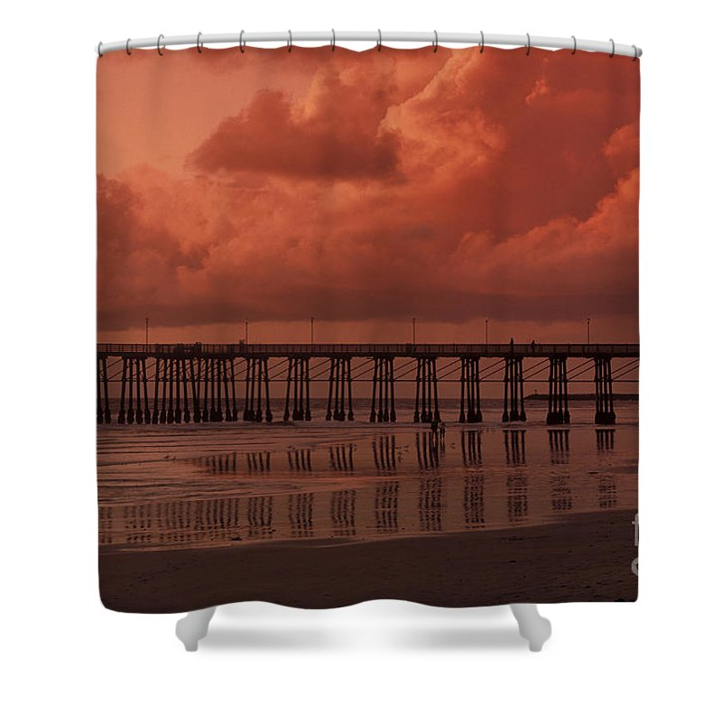 Sandra Bronstein Shower Curtain featuring the photograph Beachcombing At Oceanside Pier by Sandra Bronstein