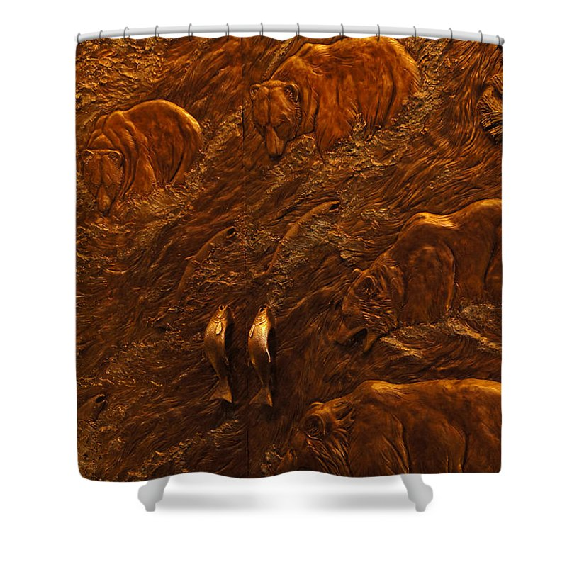 Bears Shower Curtain featuring the photograph Bear Entrance Doors At Taprock by Mick Anderson