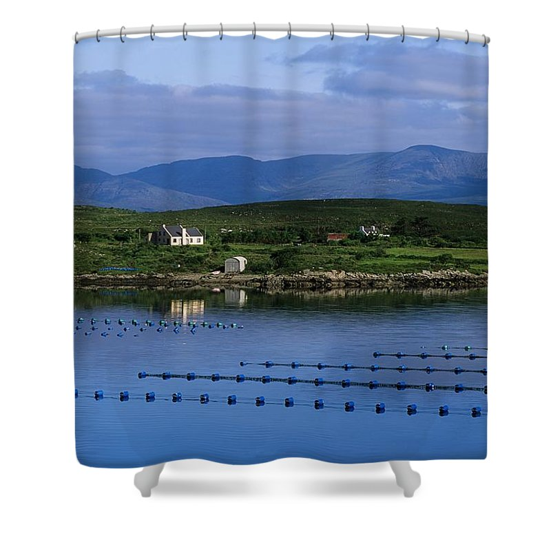 Beara Shower Curtain featuring the photograph Beara, Co Cork, Ireland Mussel Farm by The Irish Image Collection