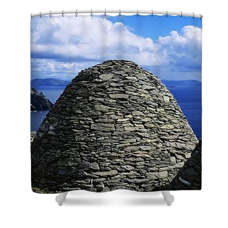 Abbeys Shower Curtain featuring the photograph Beehive Huts At The Coast, Skellig by The Irish Image Collection