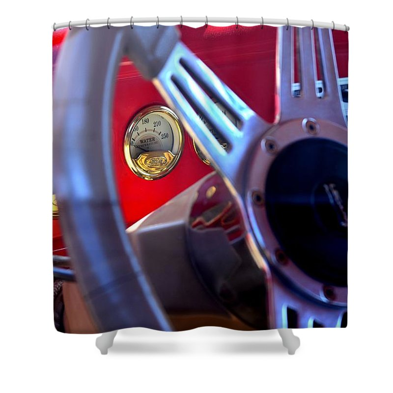 Ford Shower Curtain featuring the photograph Behind The Wheel Of A 1940 Ford by Maria Urso
