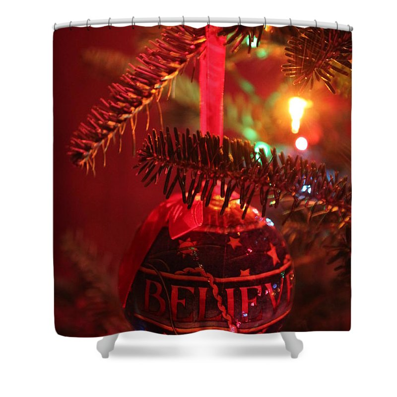 Christmas Shower Curtain featuring the photograph Believe by Lauri Novak