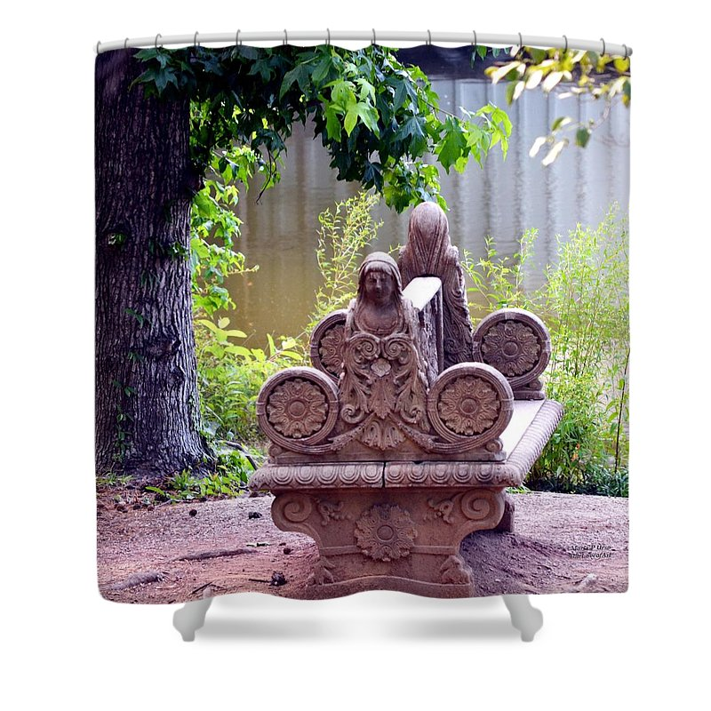 Bench Shower Curtain featuring the photograph Bench By The Lake by Maria Urso