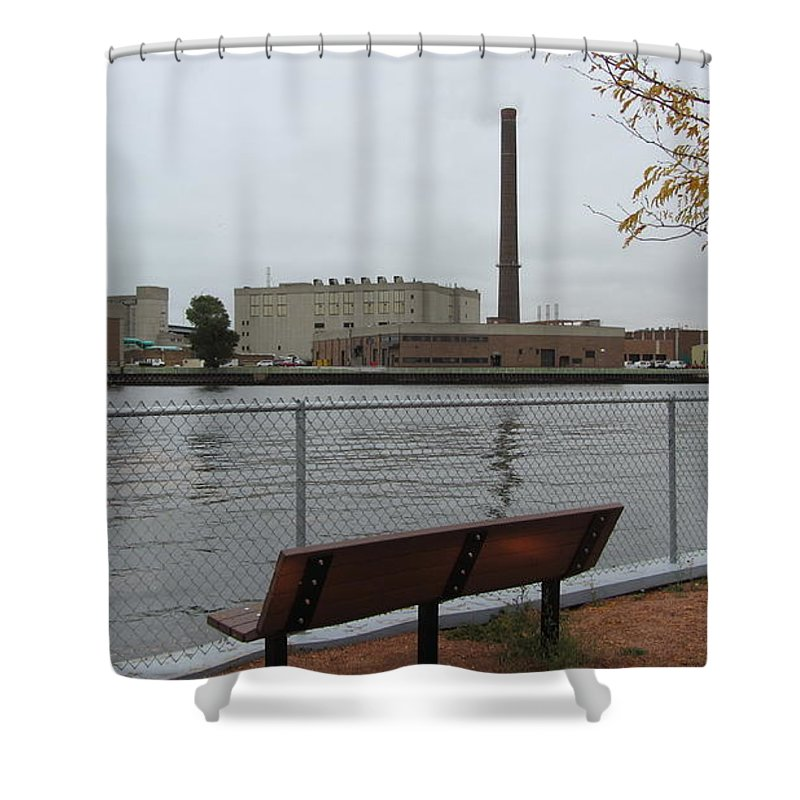 Milwaukee Shower Curtain featuring the photograph Bench With Industrial View by Anita Burgermeister