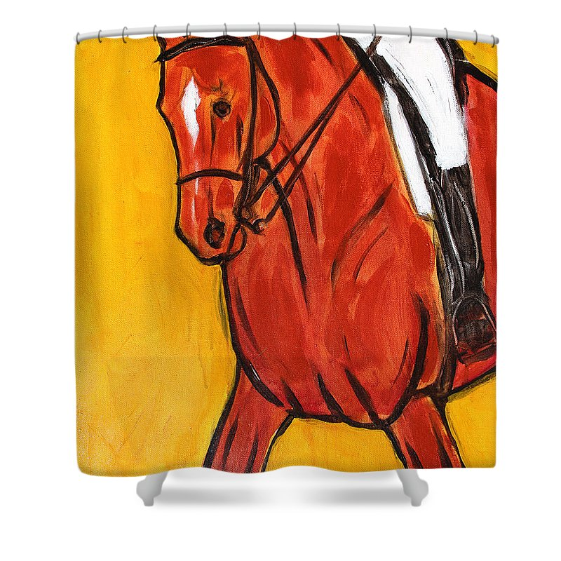 Horse Shower Curtain featuring the painting Bend II by Helen Scanlon