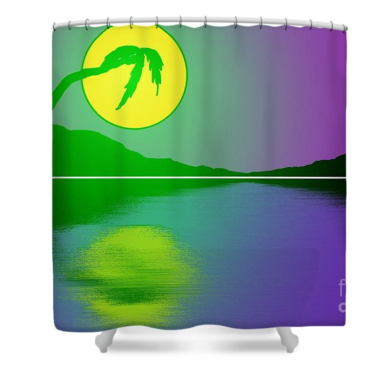 Palm Tree Shower Curtain featuring the painting Bent Palm Sunrise by George Pedro