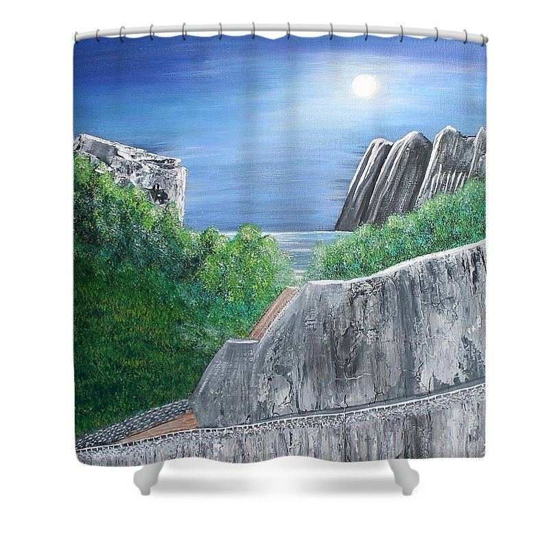 Rocks Shower Curtain featuring the painting Beyond the Rock by Debbie Levene