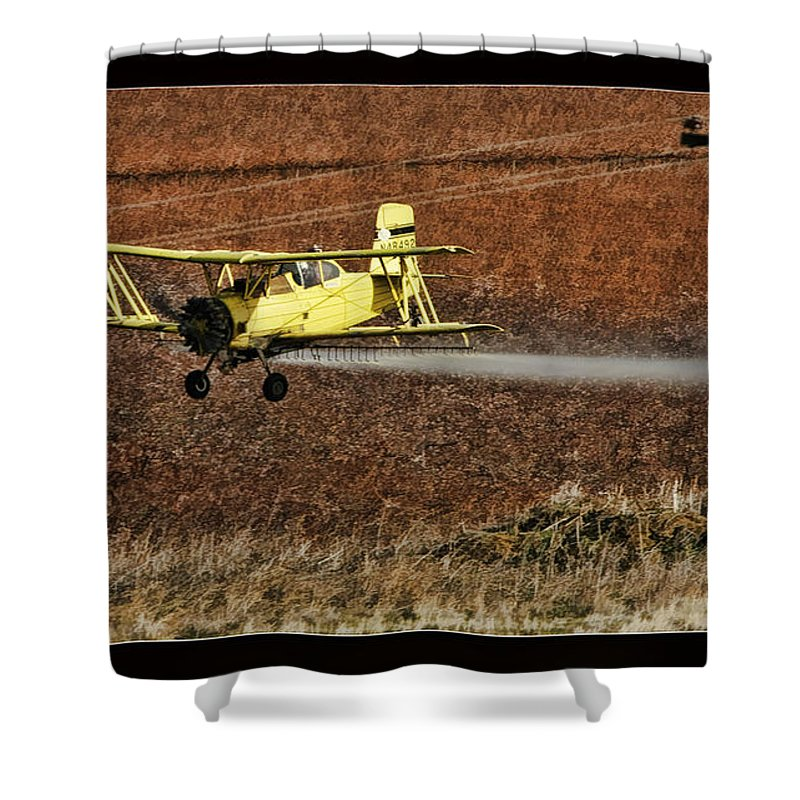 Fine Art Photographers Shower Curtain featuring the photograph Bi Plane And Phone Pole by Blake Richards