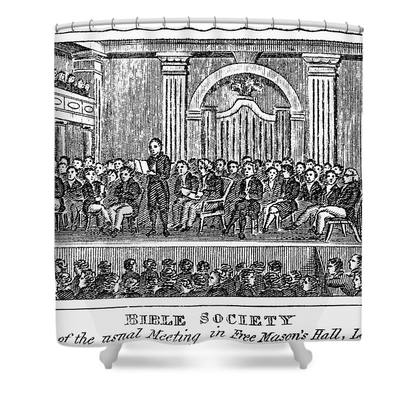 19th Century Shower Curtain featuring the photograph Bible Societies by Granger