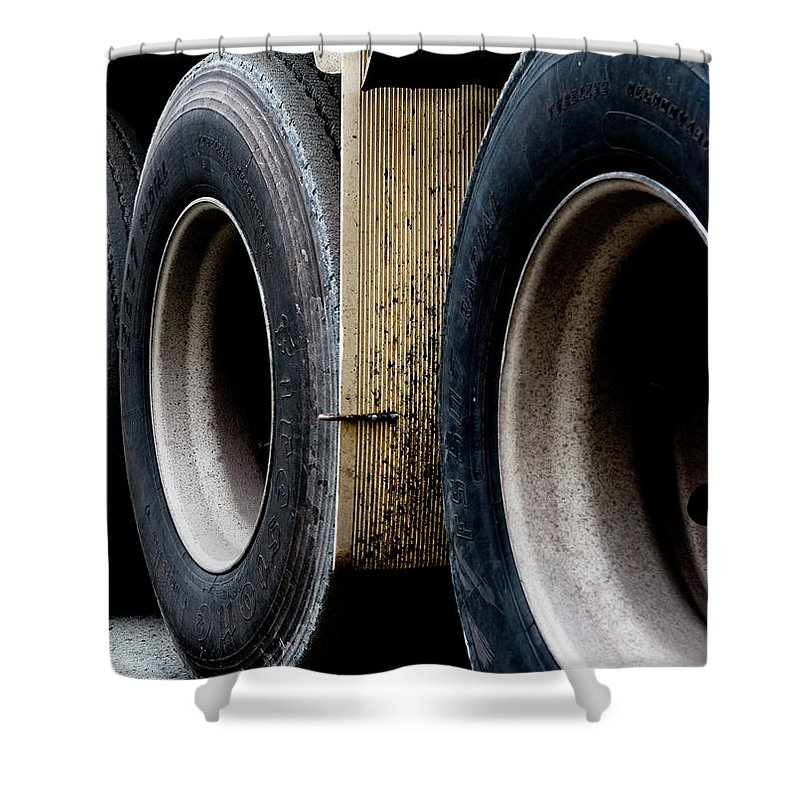 Urban Images Shower Curtain featuring the photograph Big Fat Tires by Lorraine Devon Wilke