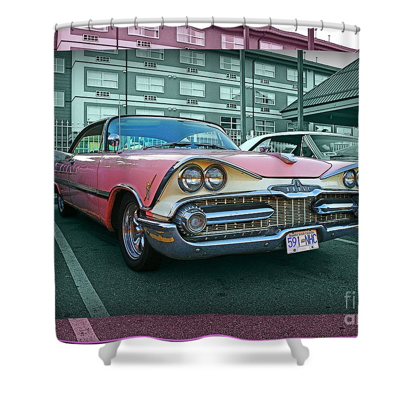 Old Cars Shower Curtain featuring the photograph Big Pink Dodge by Randy Harris