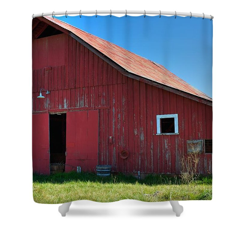 Art Shower Curtain featuring the photograph Big Red Barn by Gregory Dean