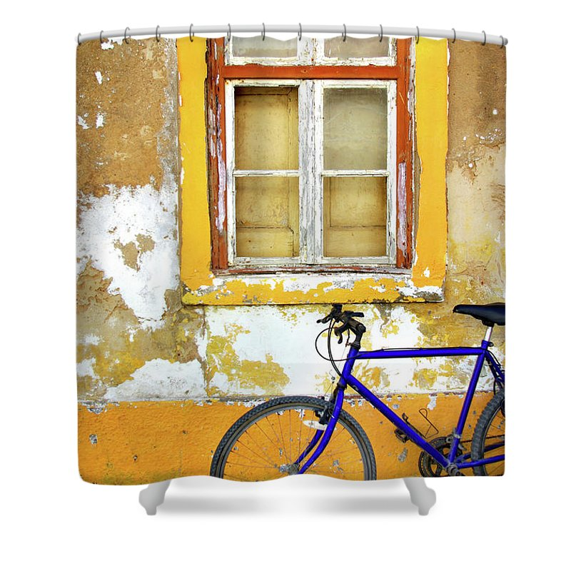 Aged Shower Curtain featuring the photograph Bike Window by Carlos Caetano