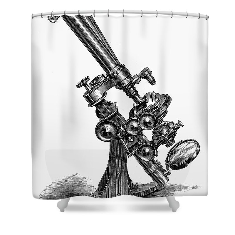 19th Century Shower Curtain featuring the photograph Binocular Microscope by Granger