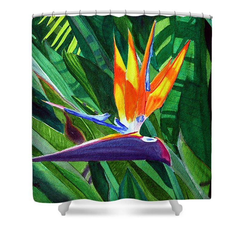 Flower Shower Curtain featuring the painting Bird-of-paradise by Mike Robles