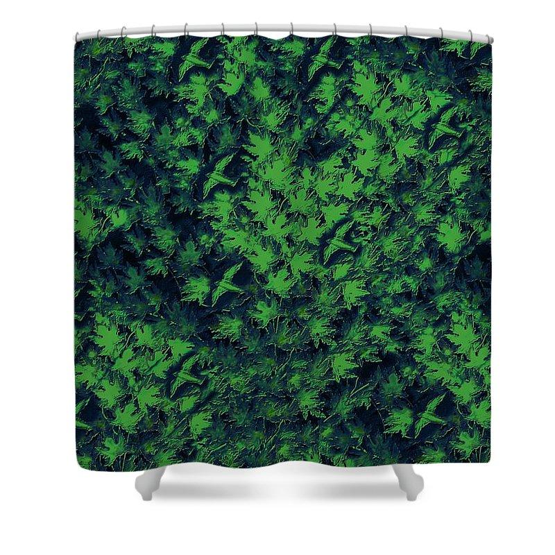 Digital Art Shower Curtain featuring the digital art Birds In Green by David Dehner