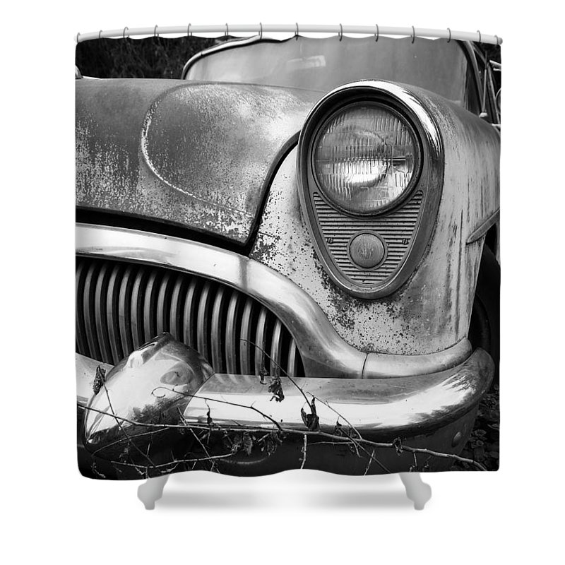 Black And White Shower Curtain featuring the photograph Black An White Buick by Steve McKinzie