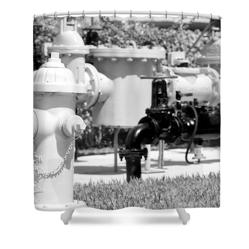 Mechanical Shower Curtain featuring the photograph Black And White Mechanics by Rob Hans