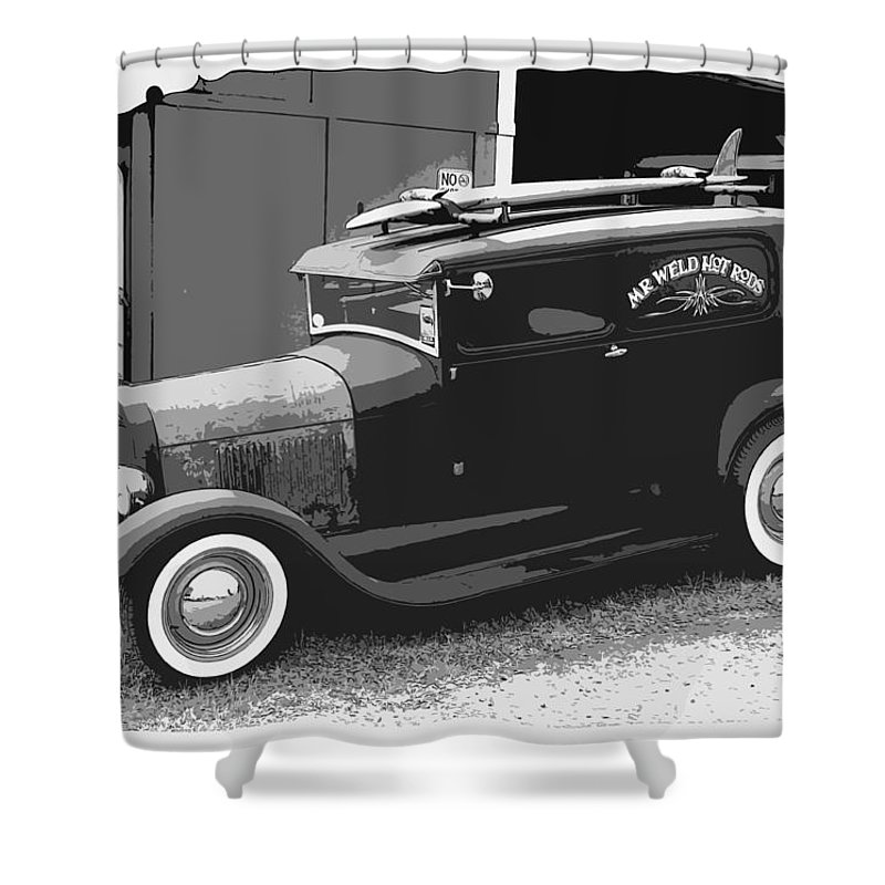 Black And White Shower Curtain featuring the photograph Black And White Surf Rod by Steve McKinzie