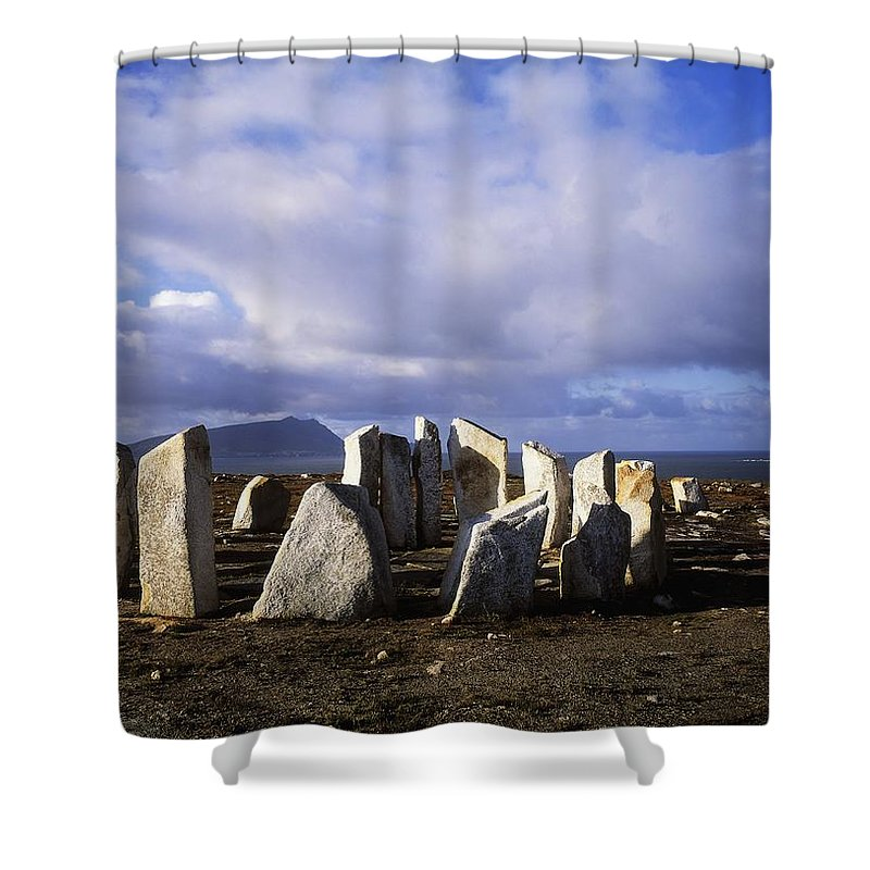Beach Shower Curtain featuring the photograph Blacksod Point, Co Mayo, Ireland Stone by The Irish Image Collection