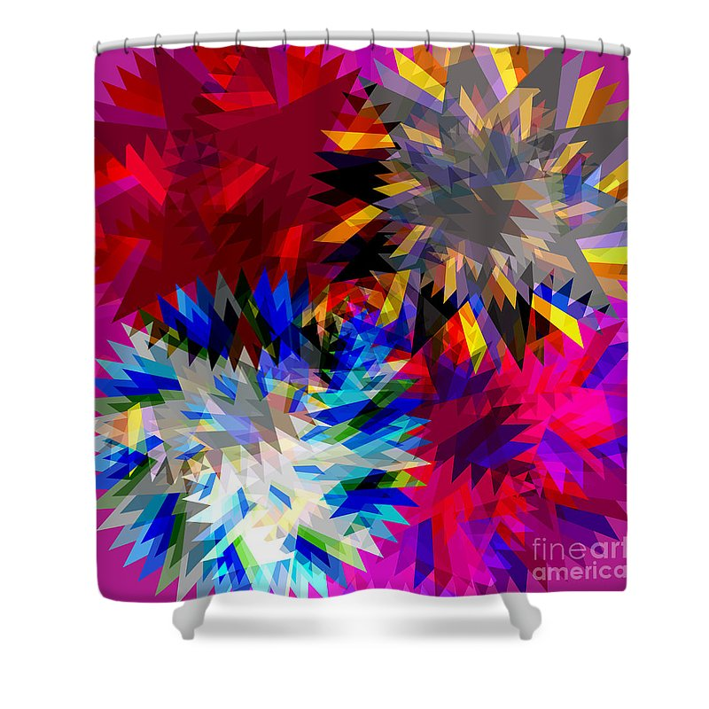 Allure Shower Curtain featuring the digital art Blade In Pink by Atiketta Sangasaeng