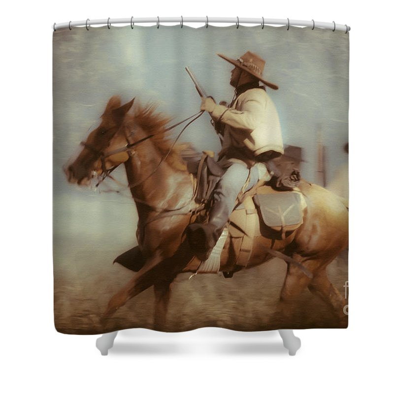 Reenactments Shower Curtain featuring the mixed media Blazing by Kim Henderson