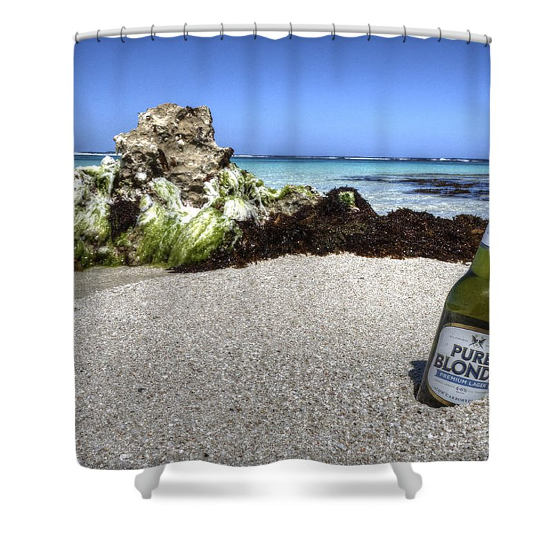 Beer Shower Curtain featuring the photograph Blonde On The Beach by Rob Hawkins