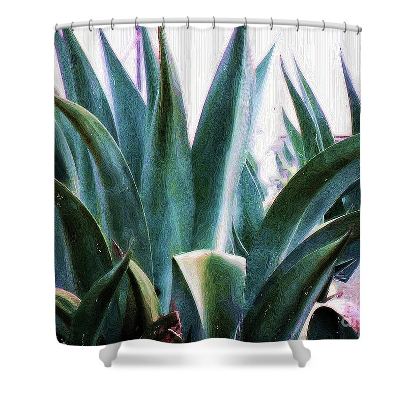 Agave Plant Shower Curtain featuring the photograph Blue Agave by Amber Stubbs