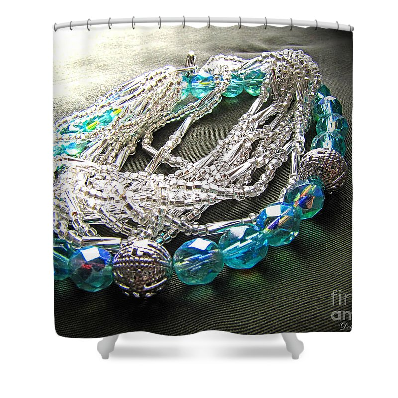 Beads Shower Curtain featuring the photograph Blue And Silver Bead Bracelet by Debbie Portwood