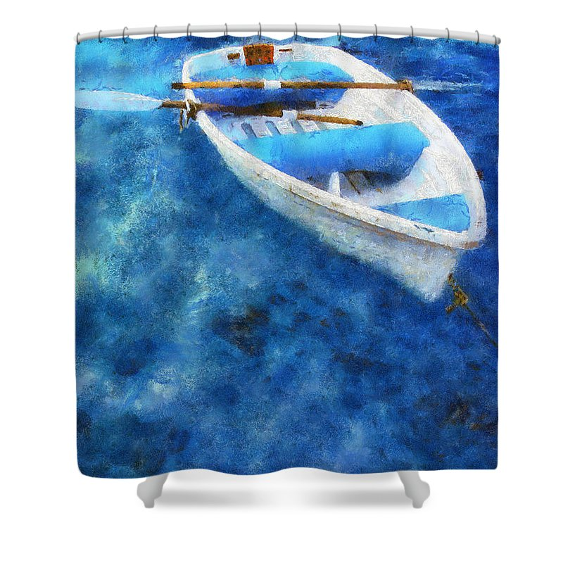 Boat Shower Curtain featuring the photograph Blue And White. Lonely Boat. Impressionism by Jenny Rainbow