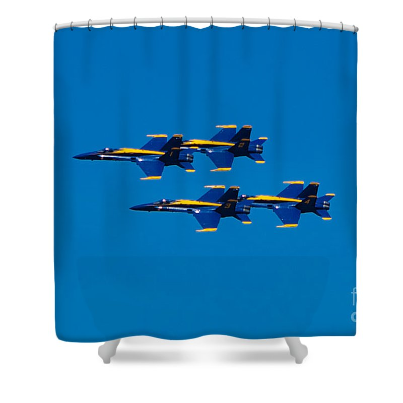 Blue Angels Shower Curtain featuring the photograph Blue Angels 2 by Mark Dodd
