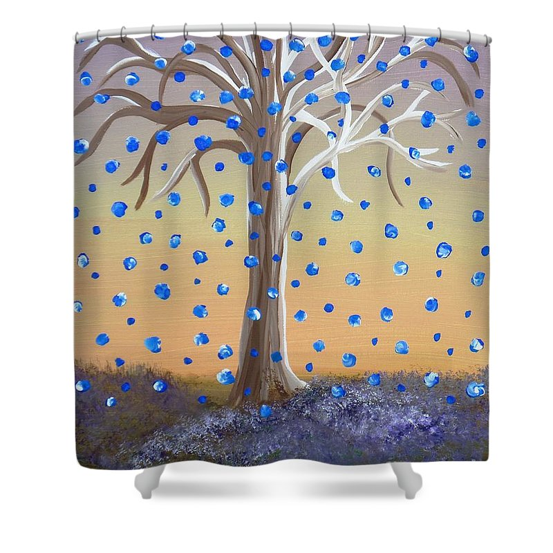 Wishing Tree Shower Curtain featuring the painting Blue-blossomed Wishing Tree by Alys Caviness-Gober
