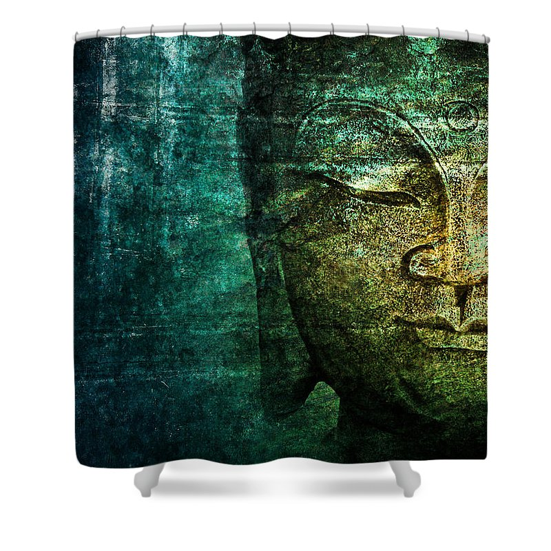 Buddha Shower Curtain featuring the photograph Blue Buddha by Claudia Moeckel