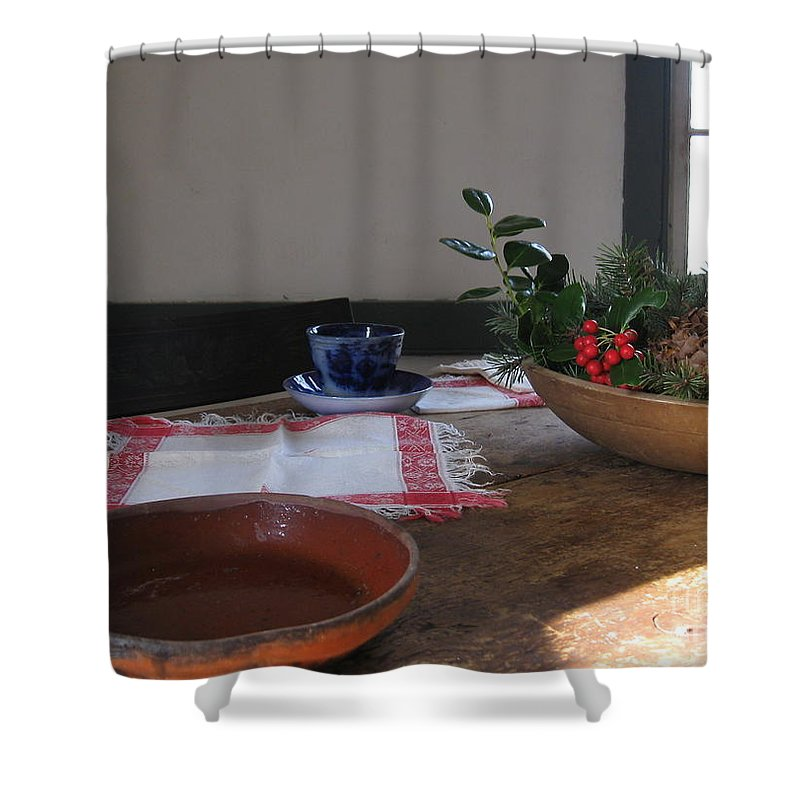 Pottery Dish Shower Curtain featuring the photograph Blue Cup At Christmas by Nancy Patterson