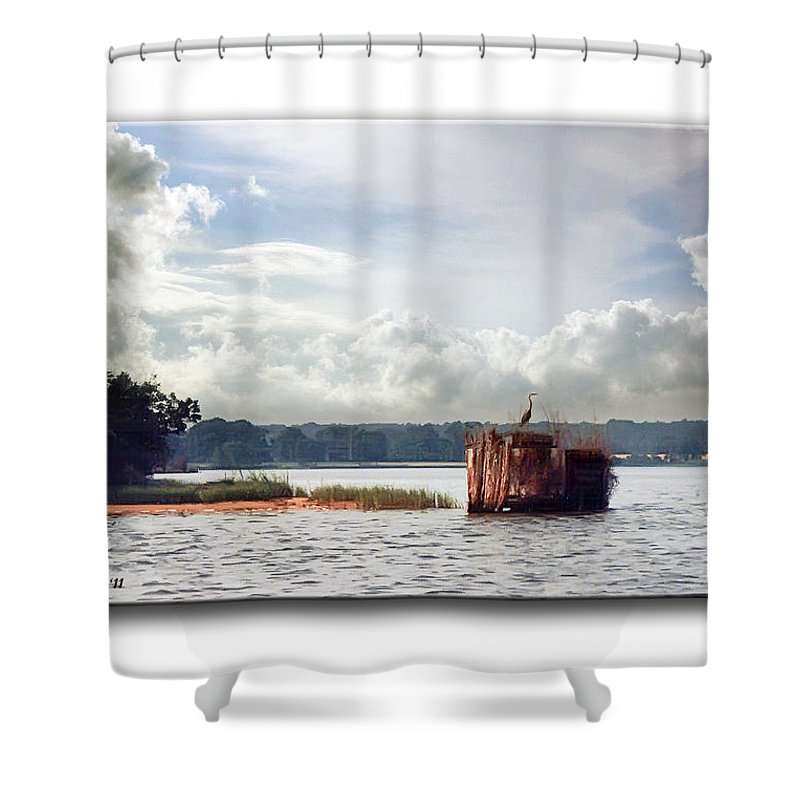 2d Shower Curtain featuring the photograph Blue Heron On The Duck Blind by Brian Wallace