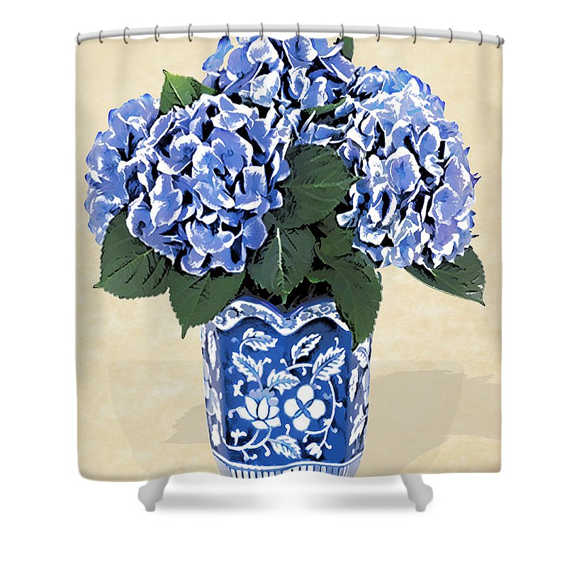 Floral Shower Curtain featuring the painting Blue Hydrangeas In A Pot On Parchment Paper by Elaine Plesser