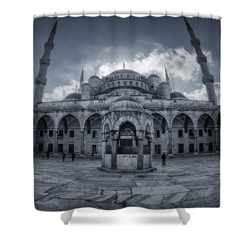 Blue Mosque Shower Curtain featuring the photograph Blue Mosque Courtyard by Joan Carroll