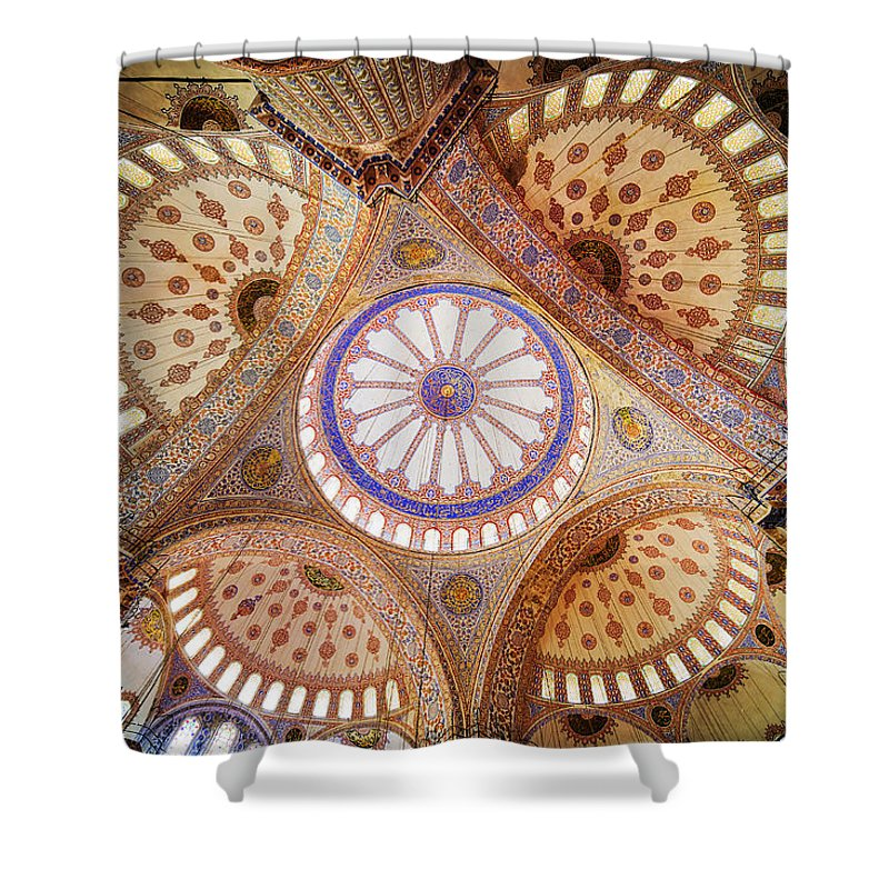 Arch Shower Curtain featuring the photograph Blue Mosque Domed Ceiling by Artur Bogacki